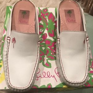 Lilly Pulitzer White leather mules  Preowned 10